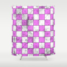 Textured Pink And White Squares Shower Curtain