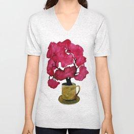 Cherry blossom Tree in Mug Unisex V-Neck