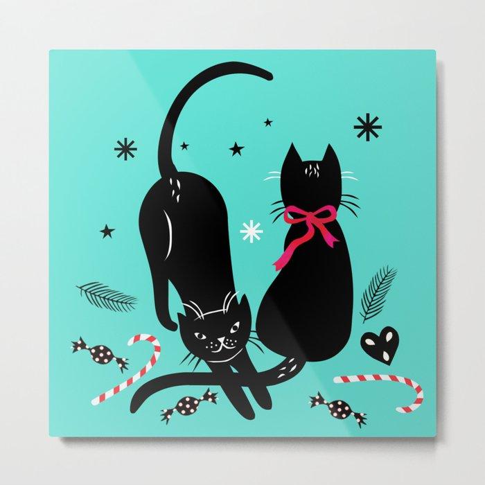 Two black cats Metal Print