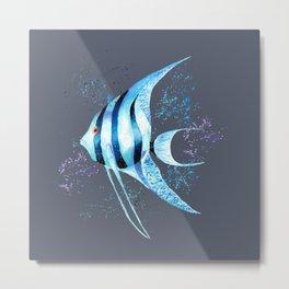 Watercolor Blue Fish Illustration Metal Print