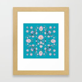 Dusty Blue Folk Flowers Framed Art Print