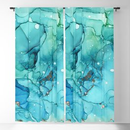 Teal Chrome Flowing Abstract Ink Blackout Curtain