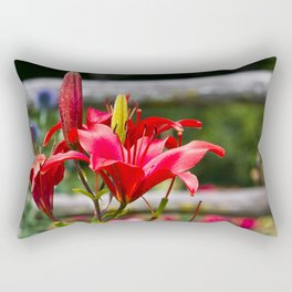 Red Lilies Rectangular Pillow
