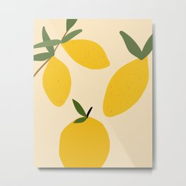 Abstract Lemon Fruit Metal Print
