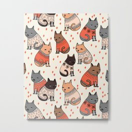 Sweater Cats - by Andrea Lauren Metal Print