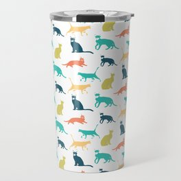 Colorful Cat Pattern Minimal Happy Bright Travel Mug