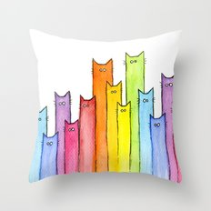 Rainbow of Cats Funny Whimsical Colorful Animals Throw Pillow