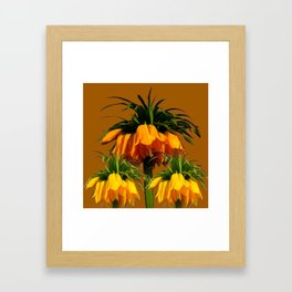 CARAMEL COLOR YELLOW CROWN IMPERIAL FLOWERS Framed Art Print