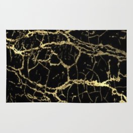 Gold and Black Marble Rug