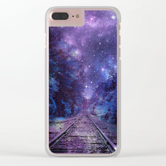 TRAIN tracks Purple Blue Clear iPhone Case