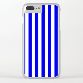 Narrow Vertical Stripes - White and Blue Clear iPhone Case