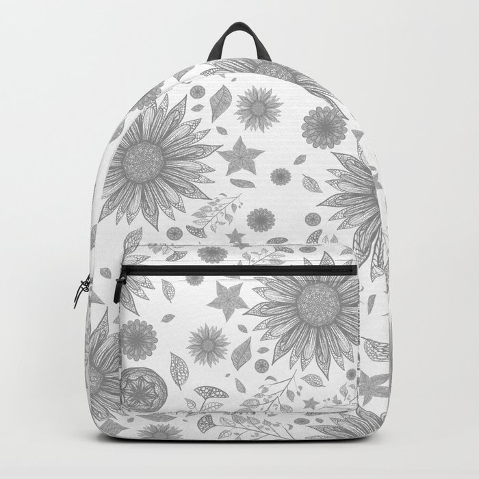 Beautiful Flowers in Faded Gray Black and White Vintage Floral Design Rucksack