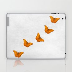 Beautiful butterflies on a textured white background Laptop & iPad Skin