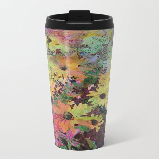 Gert's Watercolor Daisies Metal Travel Mug