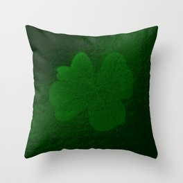 with a small brush shiny green shamrock Throw Pillow