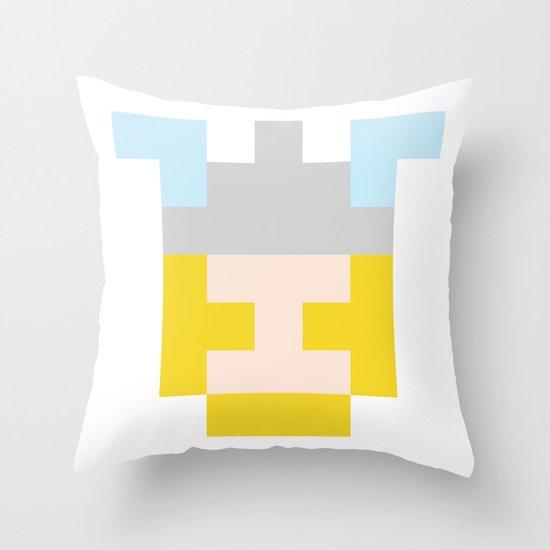 hero pixel flesh yellow grey Throw Pillow