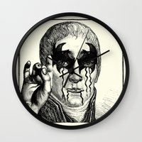 heavy metal Wall Clocks featuring Heavy metal by DIVIDUS