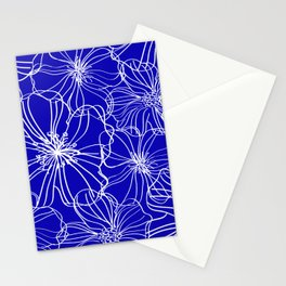 Floral, Line Art, Blue and White, Minimal Art Stationery Cards