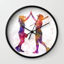 women playing softball 01 Wall Clock