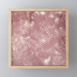 Gentle Pink and Feathery Silver Palm Leaves Pattern Framed Mini Art Print