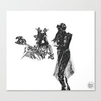 outlander Canvas Prints featuring Outlander Warrior and Maiden Sketch [Defined Tones version] [Digital Figure Illustration] by Grant Wilson
