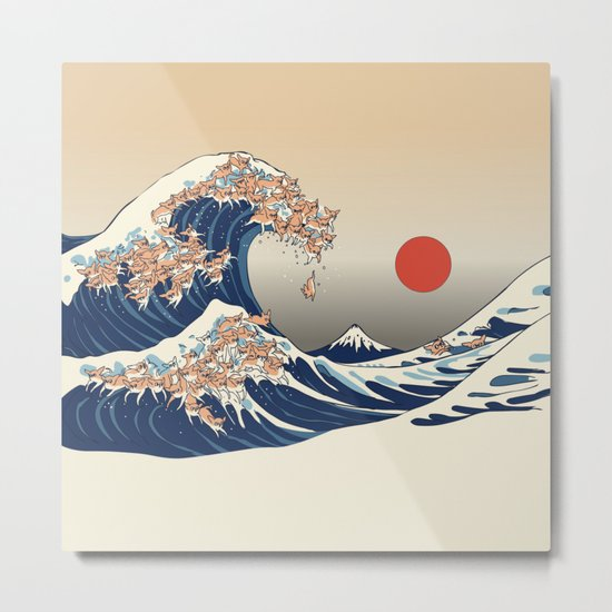 The Great Wave of Chihuahua Metal Print