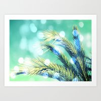 palm Art Prints featuring palm by laika in cosmos
