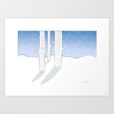 Snowy Aspens Art Print
