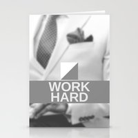 work hard Stationery Cards featuring Work Hard by Asif Hassan