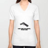 gun V-neck T-shirts featuring gun by muffa