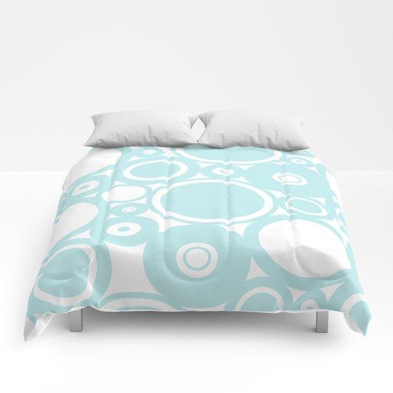 Abstract dots and circles - abstract patterns - aqua Comforters