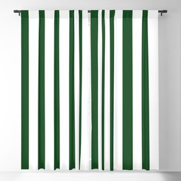 Large Forest Green and White Rustic Vertical Beach Stripes Blackout Curtain