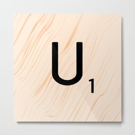Scrabble Letter U - Large Scrabble Tiles Metal Print