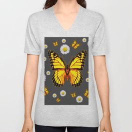 YELLOW MONARCH BUTTERFLIES WHITE DAISIES ON GREY Unisex V-Neck