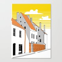 medieval Canvas Prints featuring Medieval houses by LaDa