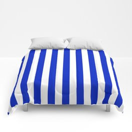 Cobalt Blue and White Vertical Beach Hut Stripe Comforters