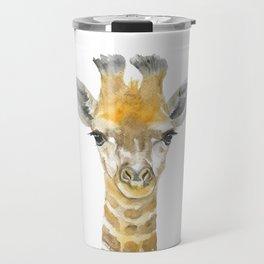Baby Giraffe Watercolor Travel Mug