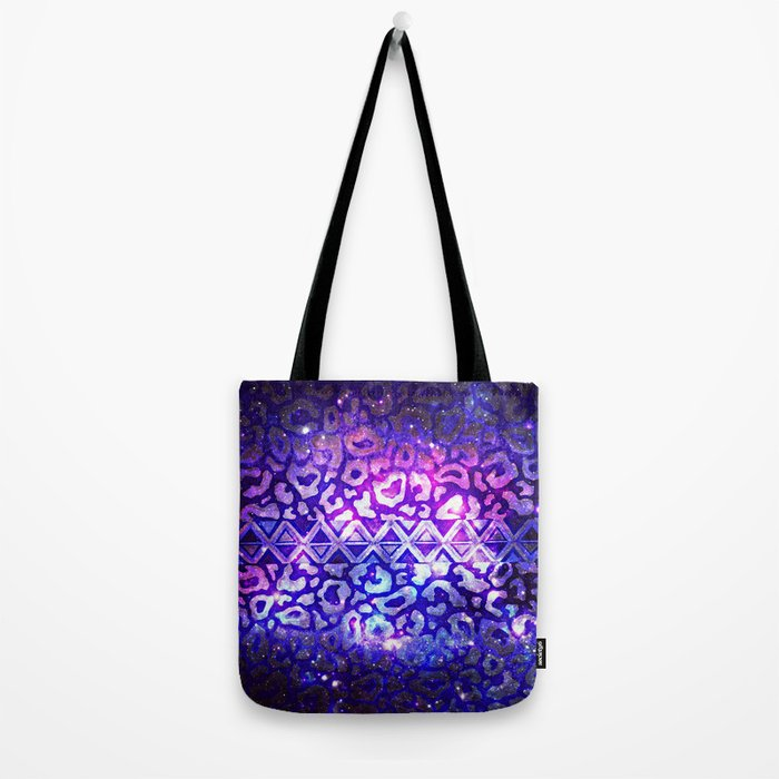 TRIBAL LEOPARD GALAXY Animal Print Aztec Native Pattern Geometric Purple Blue Ombre Space Galactic Tote Bag