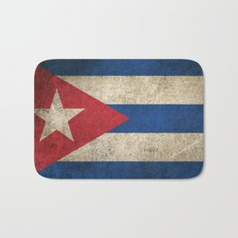 Old and Worn Distressed Vintage Flag of Cuba Bath Mat
