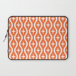 Mid century Modern Bulbous Star Pattern Orange Laptop Sleeve