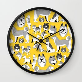 Yellow akitas Wall Clock
