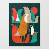retro Canvas Prints featuring Flock of Birds by Picomodi