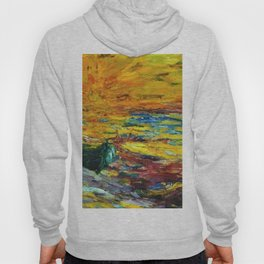 Late Summer Beach Sunset with waves and boat landscape painting by Emil Nolde Hoody