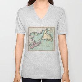 Vintage Map of Nova Scotia and Newfoundland (1807) Unisex V-Neck