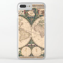 Vintage World Art Map Clear iPhone Case