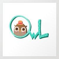 Owl with the inscription Art Print
