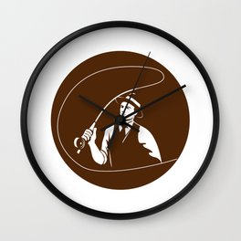 Mobster Gangster Fly Fisherman Circle Retro Wall Clock