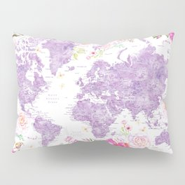 Purple watercolor floral world map with cities Pillow Sham