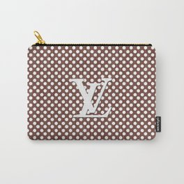 LV Polka Pattern Brown Carry-All Pouch