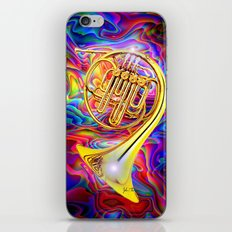 Psychedelic French horn iPhone & iPod Skin